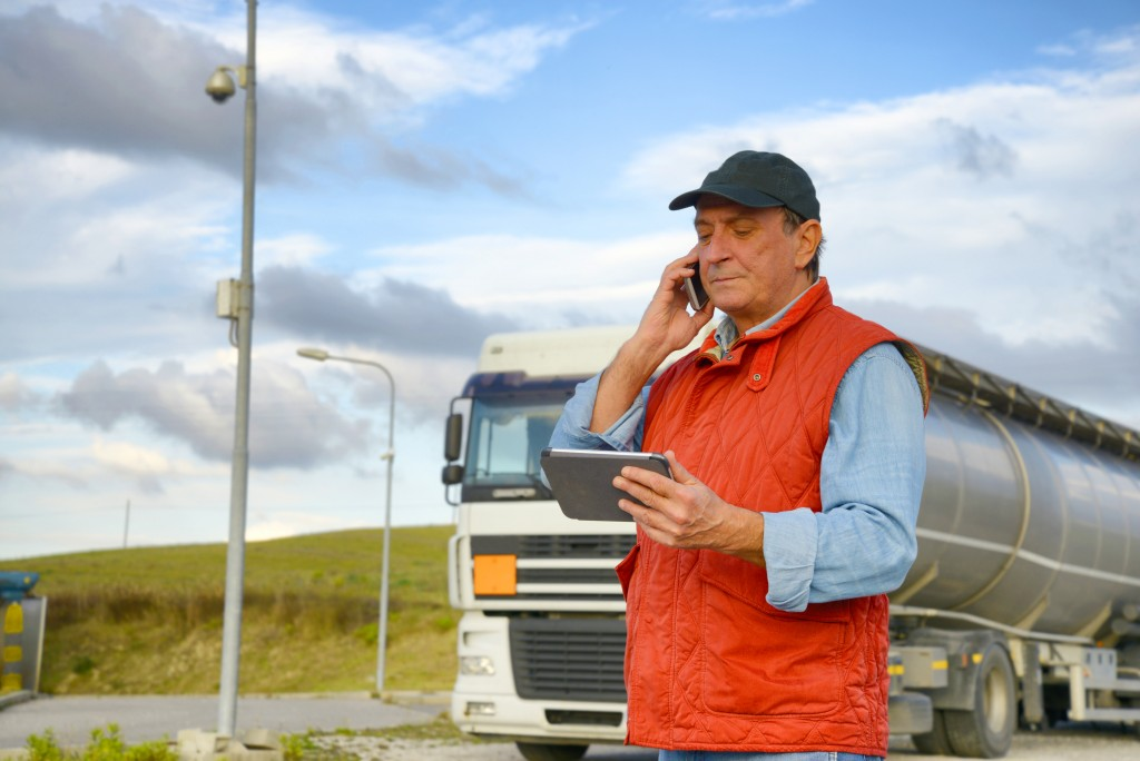 Truck driver talking on the phone