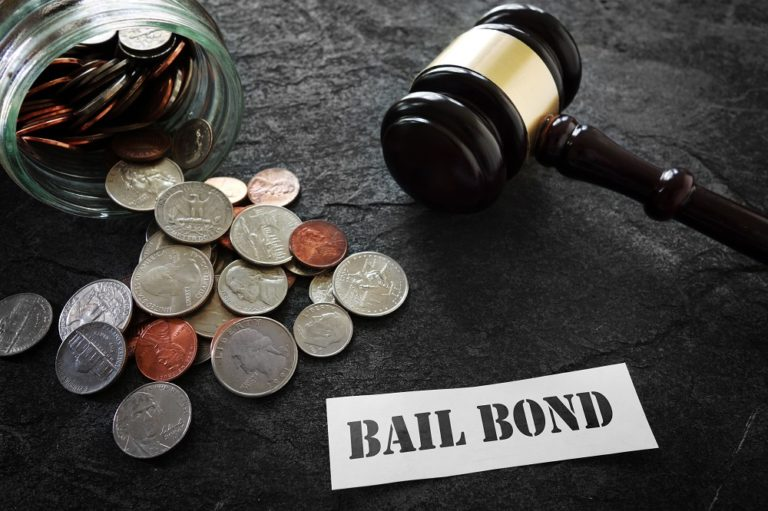 bail bond concept with gavel and coins