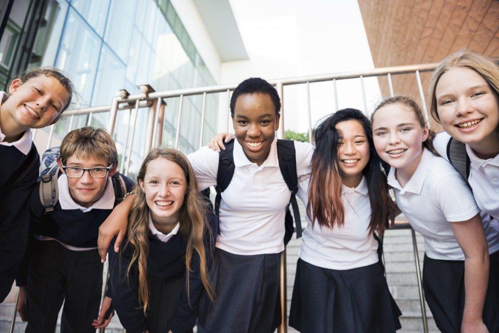 students wearing school uniform