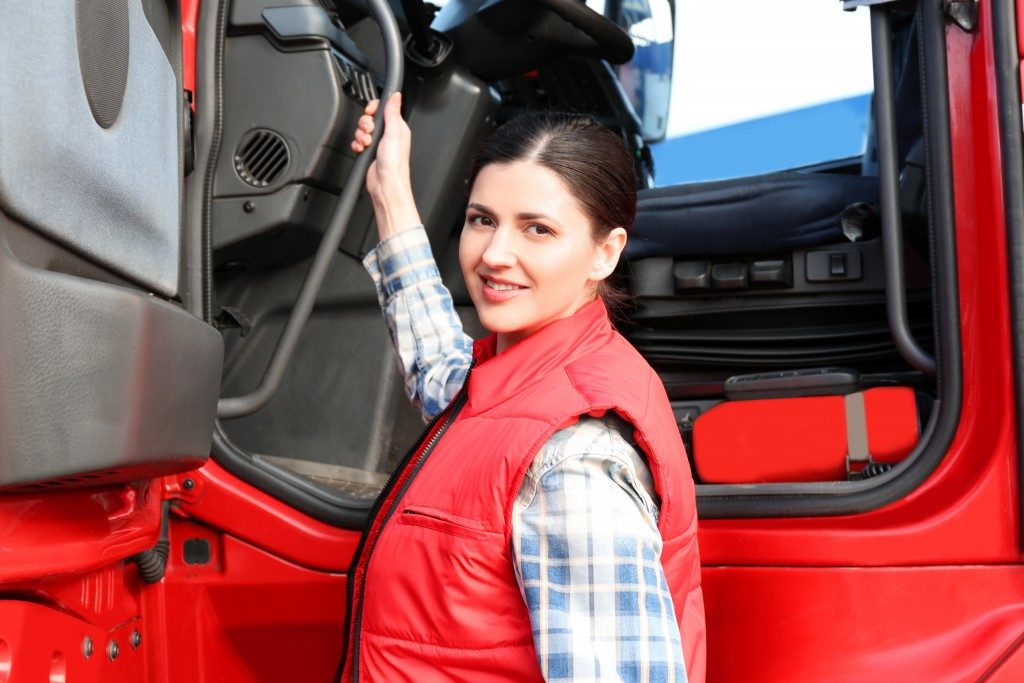 woman about to drive truck