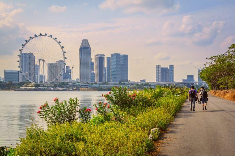 Tourists walking streets of Singapore