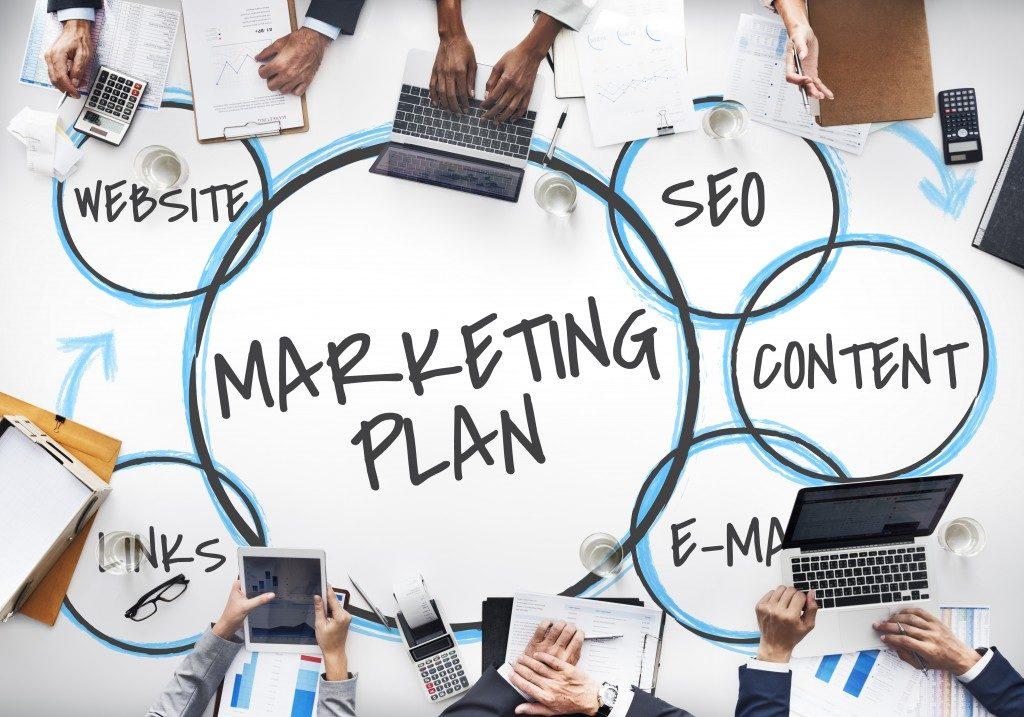digital marketing aspects written in a wide white paper