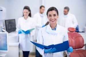 female dentist smiling