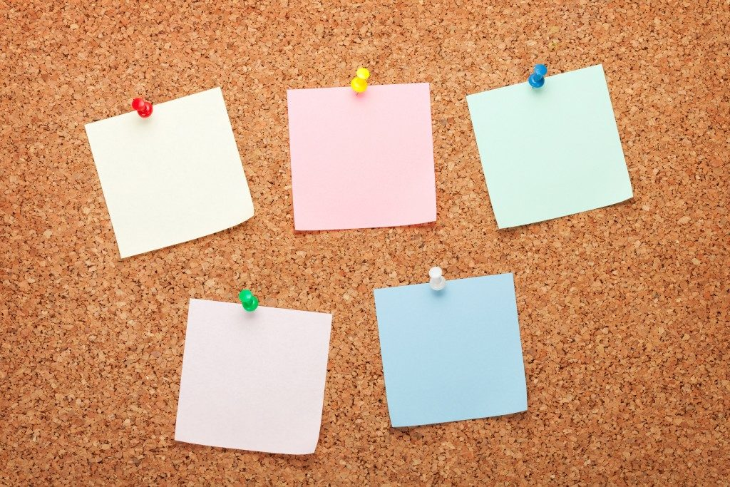 Corkboard with post-its