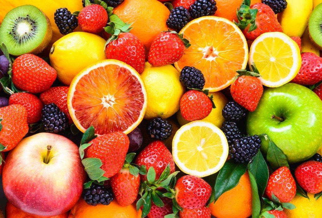 closeup of mixed fruits