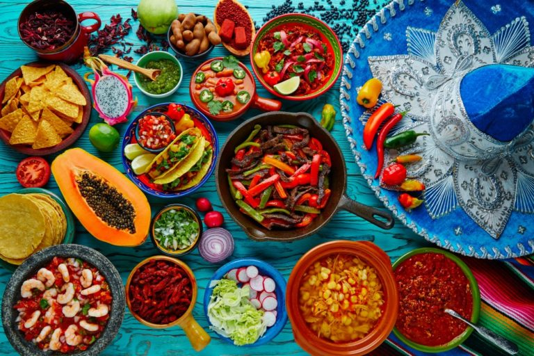 Top view of food on table