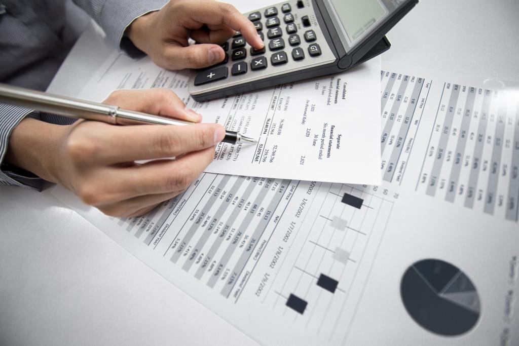 man managing finances
