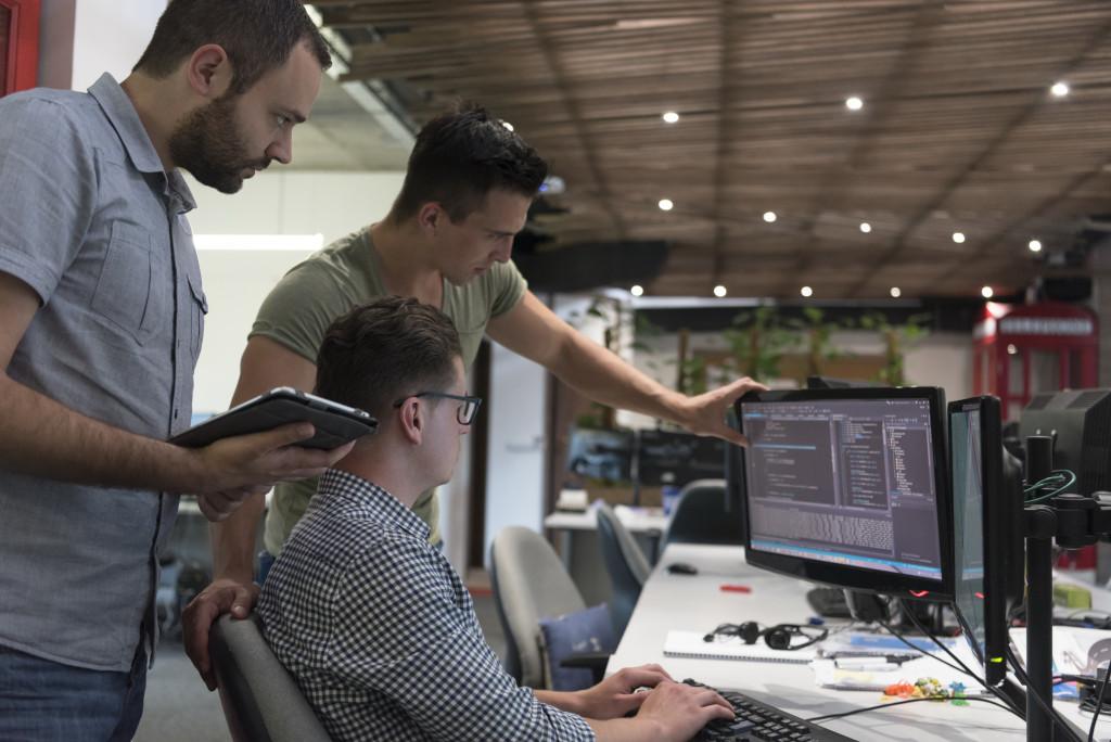 team writing code