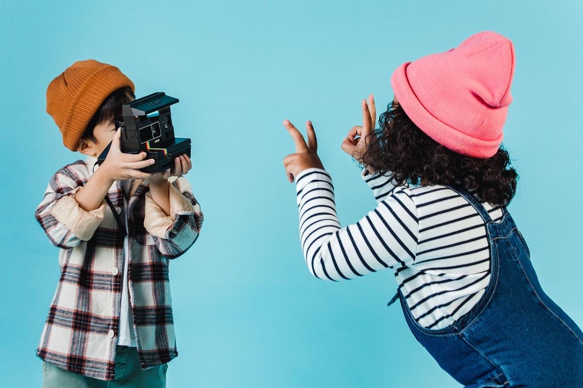 children taking photographs